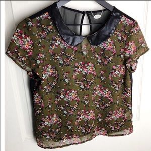 Ali + kris army green floral sheer keyhole back m